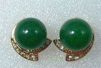 green &pink shell pearl stud earring