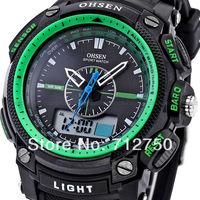 2014 Relojes New OHSEN Waterproof Analog Digital LCD Date Day Display Alarm Stopwatch Men's Green Sport Quartz Wrist Watch