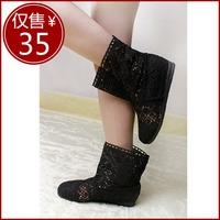 NEW !!! Fashion women spring  knitted cutout net boots net fabric cool medium-leg boots summer boots shoes female best gifts