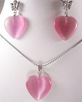 pink  opal pendants earrings
