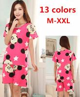 2014 summer women sleepwear cartoon short sleeve pajamas set ladies plus size knitted cotton Pyjamas suit home wear 13 colors