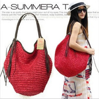 Lfany 2014 new summer Autumn girls one shoulder tassel travel casual all-match woven lady straw beach bag