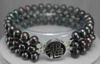 black pearl silver'' FU'' clasp bracelet