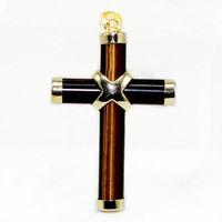 brown  Jade Cross Pendant Necklace