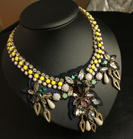 Wholesale 2014 New Luxury Vintage Crystal Necklace Collar Bib And Synthetic Stones Chunky Costume Jewelry Free Shipping