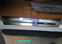 New! Quality! Blue led Door sill Scuff plate Threshold plate trim for Mitsubishi Pajero Montero Shogun 2013 2014