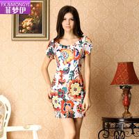 2013 summer sweet women's elegant noble fashion print short-sleeve slim one-piece dress bodycon
