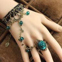 Lol47ita retro flower vine Spirit Green Crystal jewelry lace bracelet with jewelry Gothic style free shipping