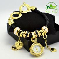 Wholesale Multi Charms Bracelet Leather Watch Women Lady Fashion Crystal Dress Quartz Wristwatches GO0911