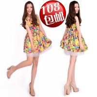 2014 spring fashion vintage fancy organza sleeveless one-piece dress plus size print vest puff skirt