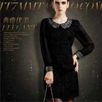 2014 spring fashion peter pan long-sleeve slim silk woolen one-piece dress plus size