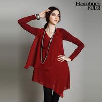 Fashion high quality 2014 women's spring long-sleeve irregular chiffon elegant one-piece dress female spring and autumn uc
