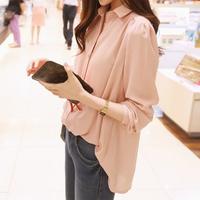 Female shirt puff sleeve medium-long long-sleeve chiffon shirt female shirt women's shirt loose