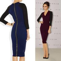 2014 spring fashion victoria V-neck slim hip 7 one-piece dress