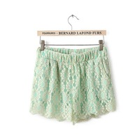 CL1531 European Style Famous Brand All-match Elastic waist Women Fashion Lace Shorts  Cute Candy Color Spring Summer Lady Wear