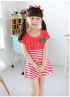 Girls Dress New 2014 Summer Dress Korean Kids Clothes Red/Blue Striped Kids Dress  Clothing Set Free Shipping