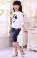 The new children's summer Korean girls seven pants children's embroidered denim pants seven points