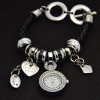 New Arrival Multi Tags Bracelet Leather Watch Women Ladies Fashion Crystal Dress Quartz Wrist Watch 8 Colors GO091