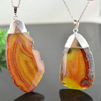 2014 New Orange Color Agate Slice Pendants Silver Plating Fashion Women Pendants Jewelry 16'' Chain Necklace