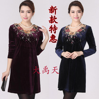 Free shipping 2014 autumn and winter basic gold velvet one-piece dress plus size mother clothing middle-age women