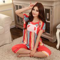 Women's 100% cotton sleepwear female spring and autumn summer short-sleeve lounge set woven 100% cotton sleepwear