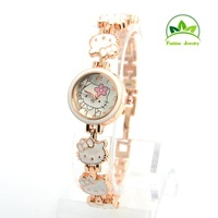 New Arrival Wholesale Hello Kitty Crystal Watch Children Women Lady Fashion Dress Quartz Wristwatches GO085
