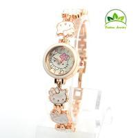 New Arrival Wholesale Hello Kitty Crystal Watch Children Women Lady Fashion Quartz Wristwatches GO085