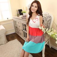 2014 nightgown female summer woven 100% cotton sleepwear artificial spring and summer cotton sleeveless nightgown sleepwear