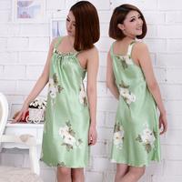 2014 nightgown female summer sexy sleepwear faux silk sleepwear spring and summer autumn spaghetti strap nightgown