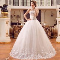 Cheap Price ! 2014 New Free Shipping A Line Bow Sweetheart Beading Crystal Lace Dress White Wedding Dresses In stock !