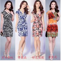 New !! 2014 Summer Women's A line Dress V neck short Sleeve Causal Tunic Sundress Sizes M L XL XXL