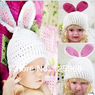 Free shipping!2014 New 5pcs/lot crochet knitted baby bunny rabbit beanie hats for girls kids and infants Hats(China (Mainland))