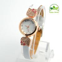 New Arrival Simple Style Hello Kitty Watch Children Women Lady Fashion Crystal Dress Quartz Wristwatches GO086