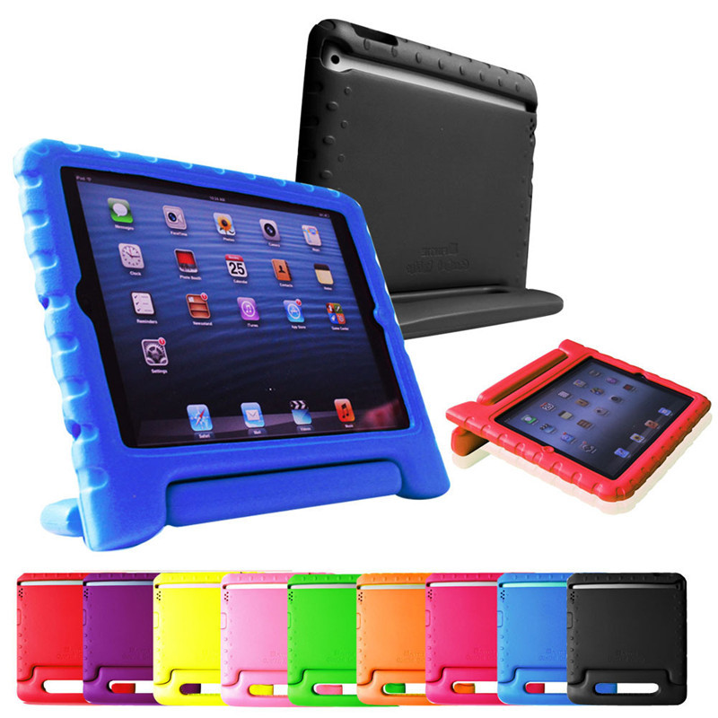 Protective Handle Stand Cover For Kids Rugged Proof Non-toxic Safe Foam Back Case For iPad 2/3/4 Children Friendly Free shipping(China (Mainland))