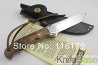Browning fixed balde knife shadow wood 7Cr17MOV 58HRC hand sanding face Camping hunting knives Wood handle with leather 5pcs/lot