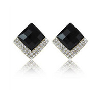Fashion elegant rhinestone fashion black rhombus big gem stud earring earrings earring