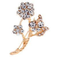 Брошь Fashion Charms Gold Plated Colorful Full Crystal Inlay Pteris Shaped Brooch Pin