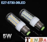 Free shipping New arrival  LED bulb  SMD 5730 E27  5w led corn bulb lamp, 36LED Warm white /white led lighting