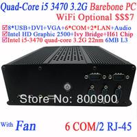 2014 new arrival embedded barebone mini computer desktop HTPC with Intel quad-core i5 3470 3.2GHz 6 RS232 2 RJ45 8 USB port