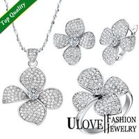 2014 New 925 Sterling Silver Jewelry Wedding Jewelry Set Necklaces Flower Pendants Earrings Rings White Clear Zircon Ulove T001