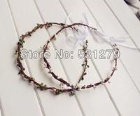 100% handmade mory girl wedding bridal headpiece natural bud head wreath with ribbon  HZW03 in free shipping
