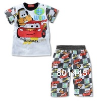 Kids apparel boys girls clothing sets cartoon car short sleeve t-shirts + pants pyjamas casual twinsets for 1-6Y free shipping