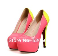New 2014 Women Fashion Sexy Neon Color 14CM Ultra Patent Leather Red Bottom High Heels Lady Platform Party Pumps  Size 34-40 A02