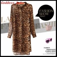 Free shipping 2new fashion hot sale mens dress shirts leopard dress spring 2014 women full-length sleeves dress A023
