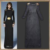 Noble elegant slim black long sleeve length one-piece dress vintage dress the trend of women