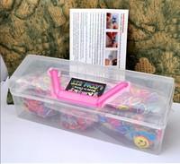 New 2014 portable family loom kits cheap fedex free shipping (3000pcs loom bands+120pcs clips+30pcs charms+2pcs hook)