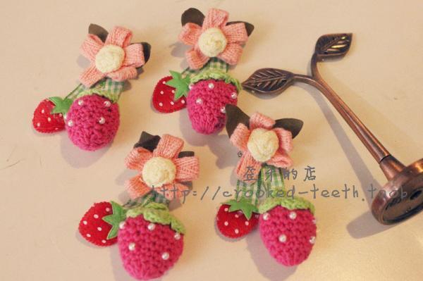 Handmade original design crochet yarn strawberry corsage brooch pin(China (Mainland))