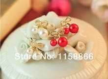 Free shipping MIX order 10 marriage cherry female fashion exquisite pearl small bow stud earrings
