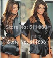 Womens Sexy Satin Lace Silk Lingerie Sleepwear Nightdress Robe G String