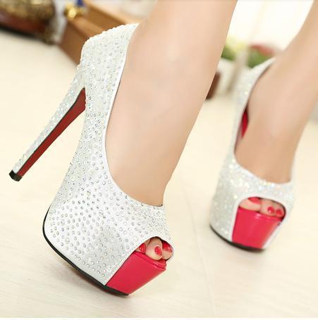Nouvelle mode des femmes chaussures à talons hauts ouvert,- orteil. diamant partie chaussures escarpins sexy chaussures de soirée club de nuit